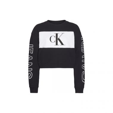 CALVIN KLEIN WOMENS BLOCK CREWNECK SWEATSHIRT IN BLACK