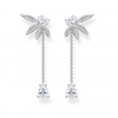 THOMAS SABO EARRING LEAVES WITH CHAIN LARGE SILVER