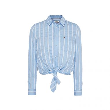 TOMMY JEANS FRONT KNOT FLAG PATCH SHIRT IN BLUE