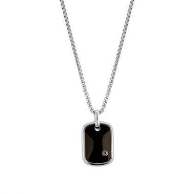 NOMINATION GENTS BLACK AND STAINLESS STEEL TAG NECKLACE