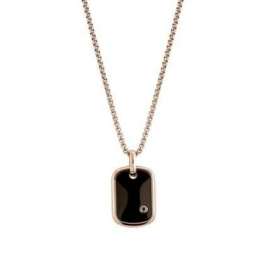 NOMINATION GENTS BLACK AND ROSE GOLD TAG NECKLACE