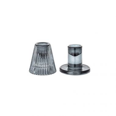 BLOOMINGVILLE SET OF 2 GLASS GREY CANDLESTICK HOLDERS