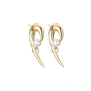 SHAUN LEANE YELLOW GOLD VERMEIL AND PEARL CHERRY BLOSSOM HOOK EARRINGS
