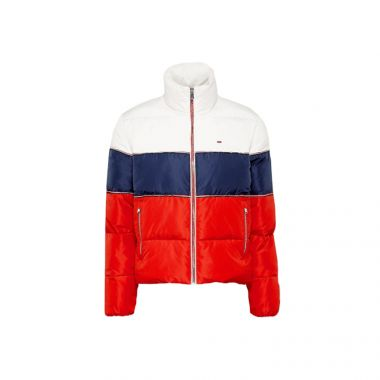 TOMMY JEANS COLOUR-BLOCKED RECYCLED POLYESTER PUFFER JACKER