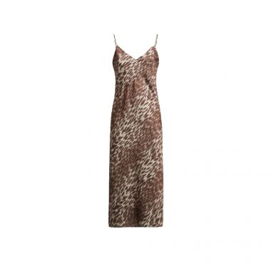 GUESS SATIN SHIFT FIT DRESS IN FADED LEOPARD COMBO