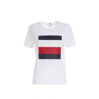 TOMMY HILFIGER LOGO PRINT CATHY T-SHIRT IN WHITE
