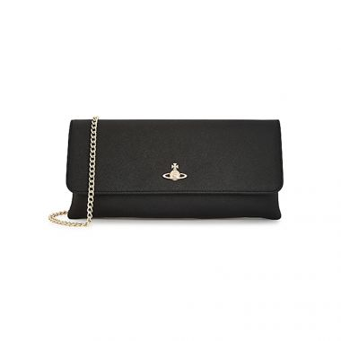 VIVIENNE WESTWOOD VICTORIA CLUTCH WITH FLAP IN BLACK