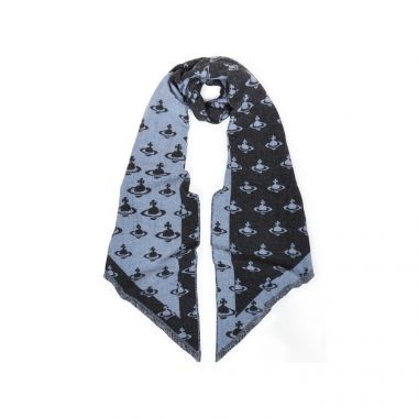 VIVIENNE WESTWOOD ALL OVER POINTED SCARF IN BLUE & GREY