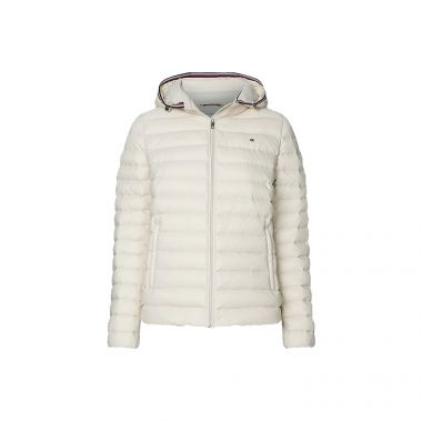 TOMMY HILFIGER ESSENTIAL PACKABLE DOWN JACKET IN VINTAGE WHITE