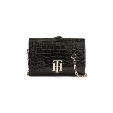 TOMMY HILFIGER LOCK CROCODILE FINISH BAG IN BLACK