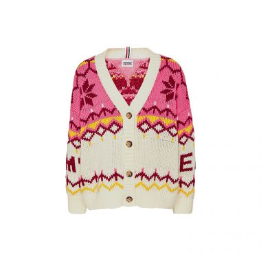 TOMMY JEANS FAIR ISLE LAMBSWOOL CARDIGAN