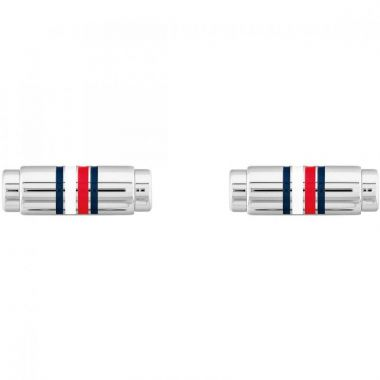 TOMMY HILFIGER STAINLESS STEEL SILVER TONE CUFFLINKS