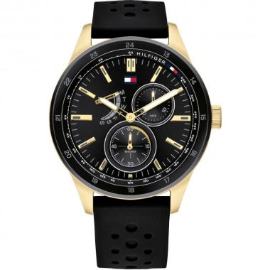 TOMMY HILFIGER GENT'S AUSTIN BLACK SILICONE WITH GOLD DETAIL WATCH