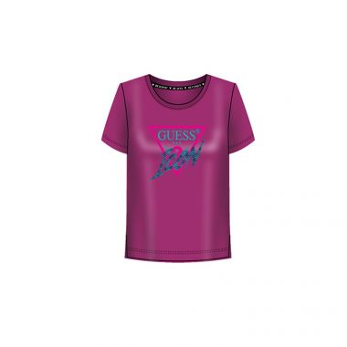 GUESS LADIES ICON EMBELLISHED T-SHIRT IN PURPLE