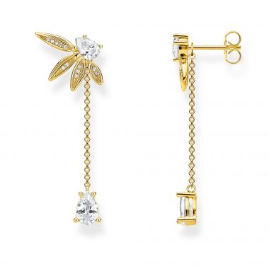 THOMAS SABO EARRINGS LEAVES WITH CHAIN LARGE GOLD