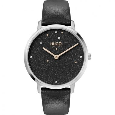 HUGO BY HUGO BOSS #DREAM LADIES CRYSTAL MESH LEATHER STRAP WATCH