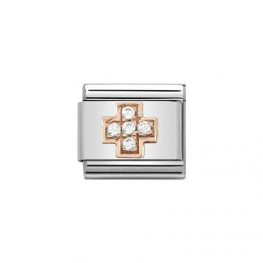 NOMINATION COMPOSABLE CLASSIC ROSE GOLD AND WHITE CZ CROSS LINK