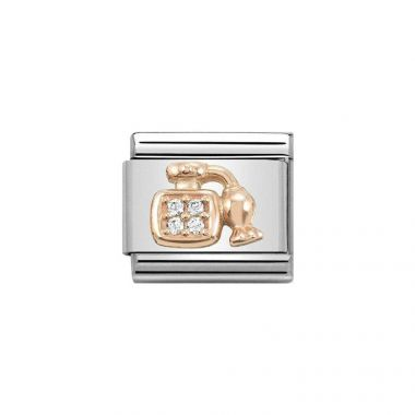 NOMINATION COMPOSABLE CLASSIC ROSE GOLD AND WHITE CZ PERFUME BOTTLE LINK