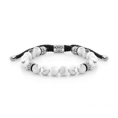 NOMINATION INSTINCT MARINA STAINLESS STEEL AND LEATHER WITH WHITE HOWLITE STONES BRACELET
