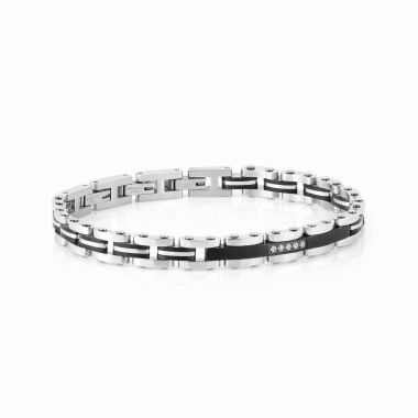 NOMINATION STRONG BLACK PLATED AND STAINLESS STEEL WITH WHITE CZ BRACELET