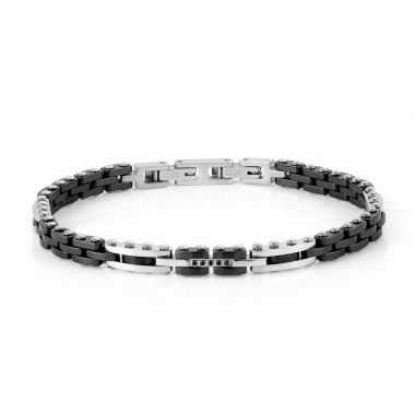 NOMINATION STRONG BLACK CERAMIC AND STAINLESS STEEL WITH BLACK CZ BRACELET