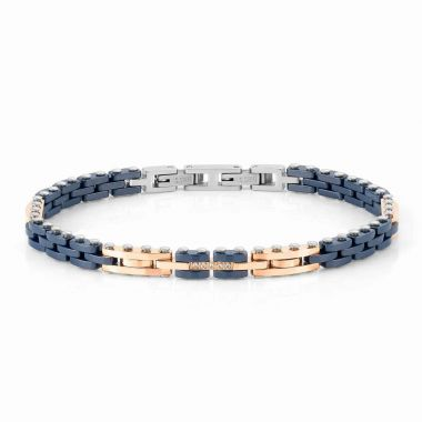 NOMINATION STRONG ROSE GOLD PLATED STAINLESS STEEL AND BLUE CERAMIC WITH WHITE CZ BRACELET