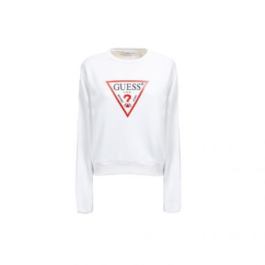 GUESS TRIANGLE LOGO SWEATSHIRT IN WHITE