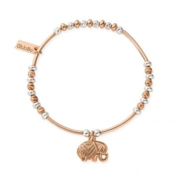 CHLOBO TWO TONE DECORATED ELEPHANT BRACELET IN ROSE GOLD AND STERLING SILVER