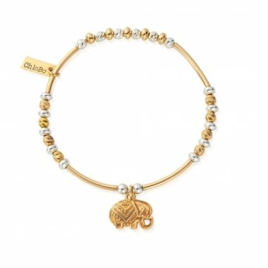 CHLOBO TWO TONE DECORATED ELEPHANT BRACELET IN YELLOW GOLD AND STERLING SILVER