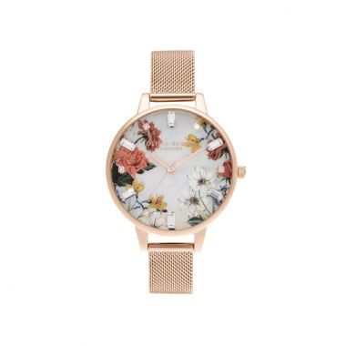 OLIVIA BURTON DEMI MOTHER OF PEARL DIAL ROSE GOLD MESH WATCH