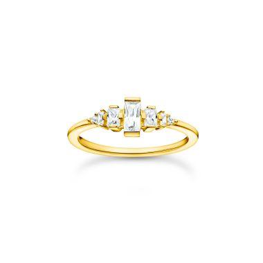 THOMAS SABO RING VINTAGE WHITE STONES GOLD