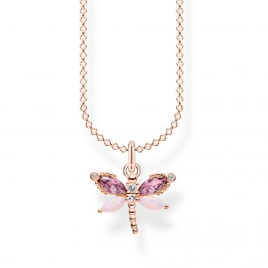 THOMAS SABO NECKLACE DRAGONFLY WITH STONES ROSE GOLD