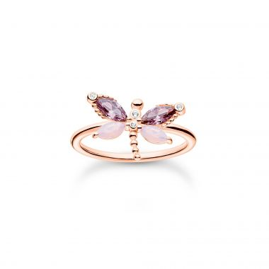 THOMAS SABO RING DRAGONFLY WITH STONES ROSE GOLD