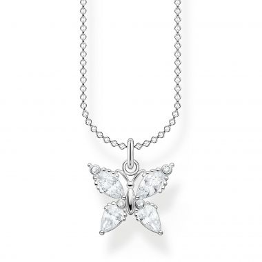THOMAS SABO NECKLACE BUTTERFLY WHITE STONES