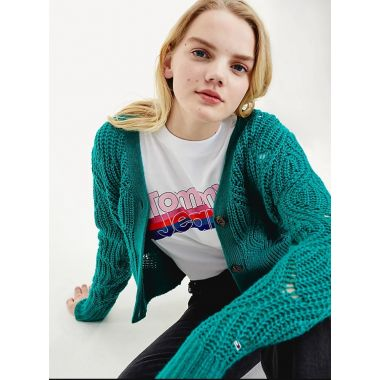 TOMMY JEANS POINTELLE CROPPED LAMBSWOOL CARIGAN IN GREEN