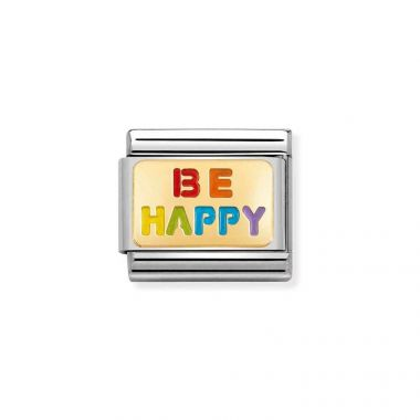 NOMINATION CLASSIC COMPOSABLE GOLD & ENAMEL RAINBOW BE HAPPY LINK