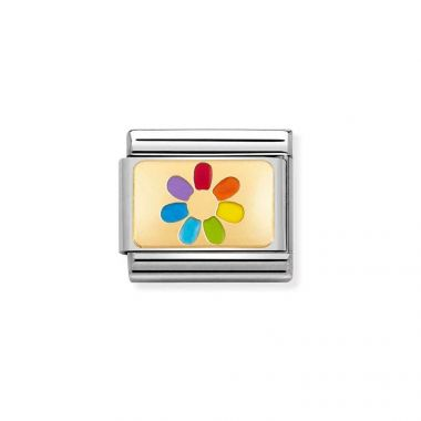 NOMINATION CLASSIC COMPOSABLE GOLD & ENAMEL RAINBOW FLOWER LINK