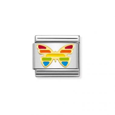 NOMINATION CLASSIC COMPOSABLE GOLD & ENAMEL RAINBOW BUTTERFLY LINK