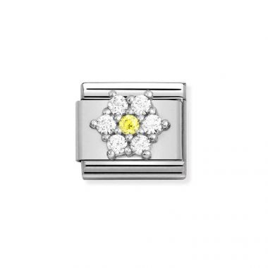 NOMINATION CLASSIC COMPOSABLE WHITE & YELLOW CZ FLOWER LINK