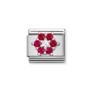 NOMINATION CLASSIC COMPOSABLE RED & WHITE CZ FLOWER LINK