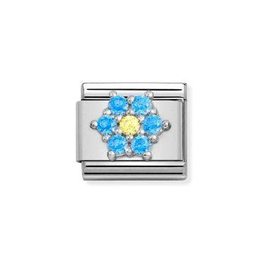 NOMINATION CLASSIC COMPOSABLE LIGHT BLUE & YELLOW CZ FLOWER LINK