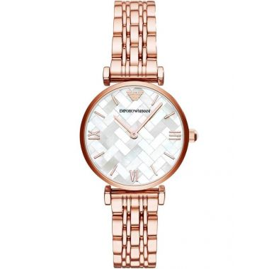 EMPORIO ARMANI MOTHER OF PEARL DIAL AND ROSE GOLD LADIES WATCH