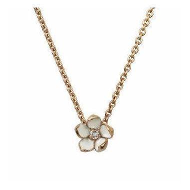 SHAUN LEANE ROSE GOLD VERMEIL CHERRY BLOSSOM DIAMOND FLOWER PENDANT