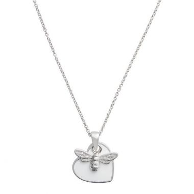 OLIVIA BURTON YOU HAVE MY HEART NECKLACE SILVER & WHITE OBJLHN18