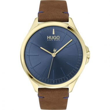 HUGO BY HUGO BOSS #SMASH GENT'S LEATHER STRAP WATCH